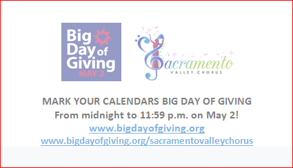 Big Day of Giving - Sacramento Valley Chorus